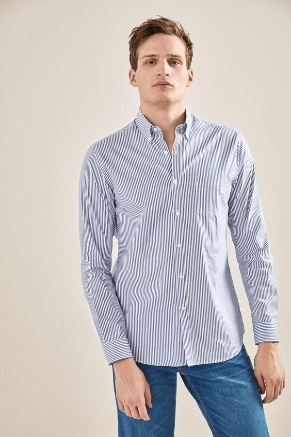 7c0db41b2602 Cortefiel Camisa rayas coolmax Azul
