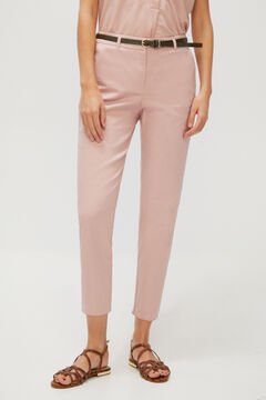 Cortefiel Cropped trousers with belt. Purpura
