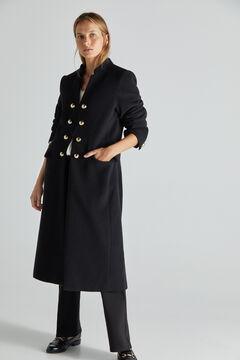 Cortefiel Abrigo largo negro botones Negro