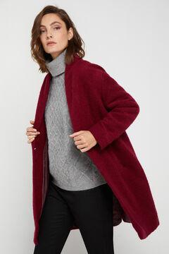 Cortefiel Long wool blend coat Redgarnet