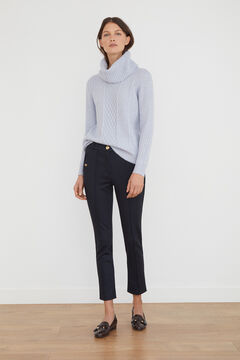 Cortefiel Jersey-knit trousers Navy
