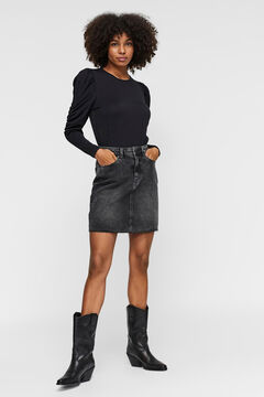 Cortefiel Organic cotton denim skirt Black