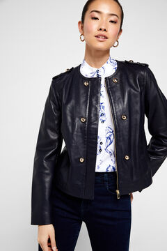 Cortefiel Leather jacket with gold buttons Navy