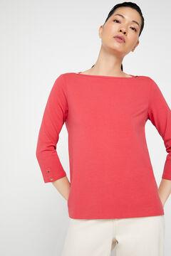 Cortefiel Organic cotton boat neck t-shirt Pink