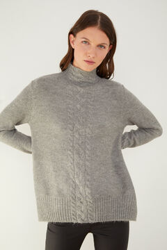 Cortefiel Long cable knit jumper Gray