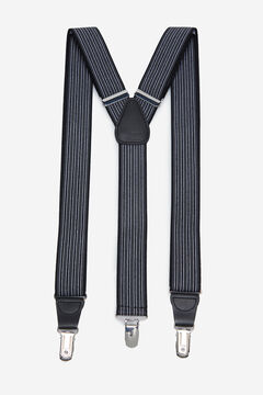 Cortefiel Striped stretch braces Black