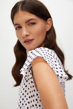 Cortefiel Printed floaty blouse Ecru