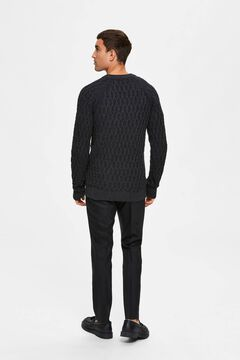 Cortefiel Cable pattern jumper Black