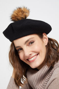 Cortefiel Racoon pompom beret Black