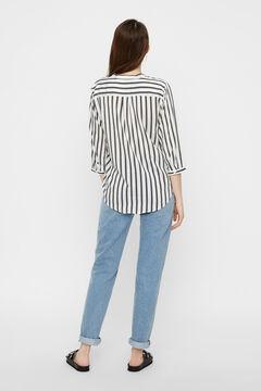 Cortefiel Striped 3/4 shirt White
