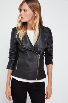 Cortefiel Combined jersey-knit leather jacket Black