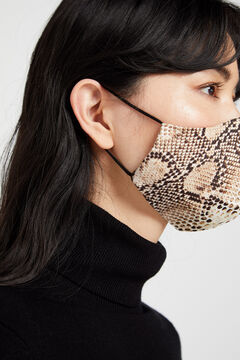 Cortefiel Reusable snakeskin face mask Beige