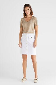 Cortefiel Falda de piqué Blanco