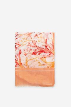 Cortefiel Coral print fine scarf Coral