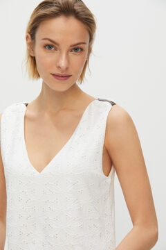 Cortefiel Embroidered effect jersey-knit tunic White
