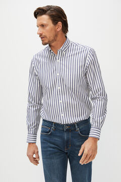 Cortefiel Extra soft organic cotton striped shirt Navy