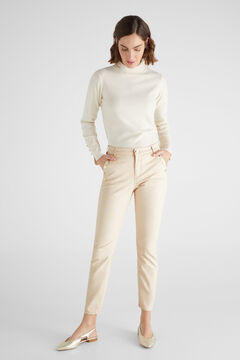 Cortefiel Sensational sustainable fabric faux leather trousers Pink