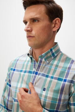 Cortefiel Checked organic cotton Oxford shirt Royal blue