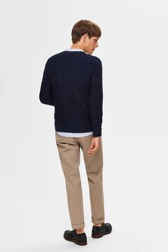 Cortefiel Organic cotton textured lines jumper Navy