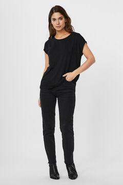 Cortefiel Lurex basic t-shirt Black
