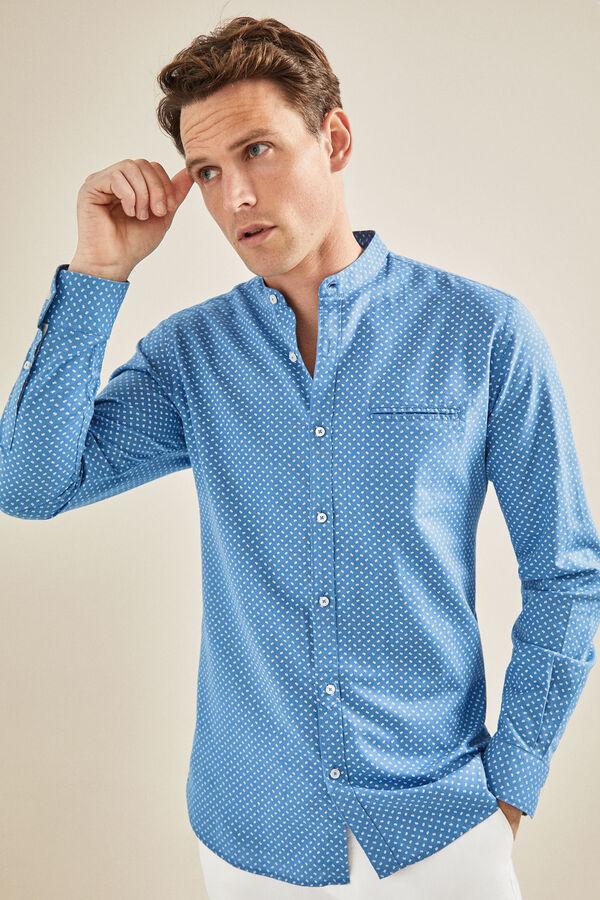 163761e04c Cortefiel Camisa estampada cuello mao Azul · Comprar