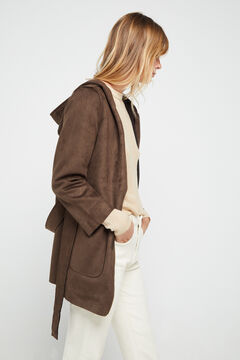 Cortefiel Faux suede jacket with hood Tobaco
