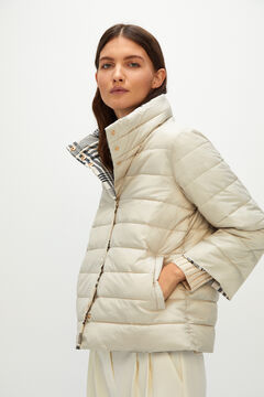 Cortefiel Reversible quilted jacket Ecru