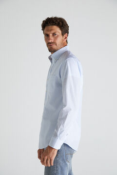 Cortefiel Striped shirt in extra soft, easy care cotton Blue