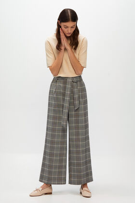 Cortefiel Checked wide leg trousers Gray