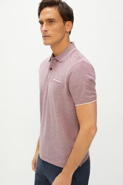Cortefiel Oxford fabric short-sleeved polo shirt Fuchsia