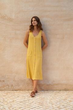 Cortefiel Vestido midi de canalé Amarillo
