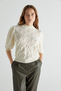Cortefiel Recycled polyester jumper Ecru