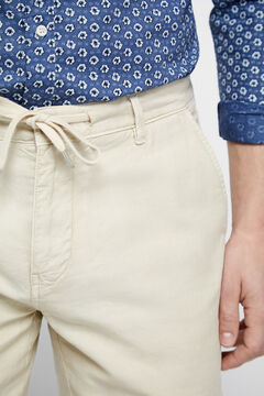 Cortefiel Linen blend Bermuda shorts with drawstring Camel