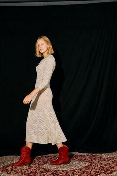 Cortefiel Midi dress with openwork Ecru