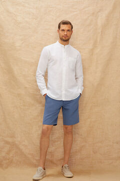 Cortefiel Cotton and linen chino style Bermuda shorts Turquoise