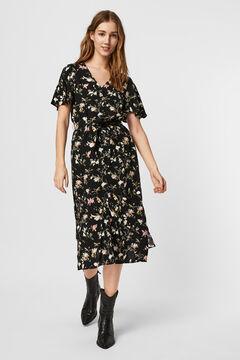 Cortefiel Printed midi dress Black
