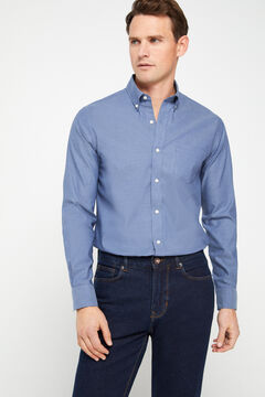 Cortefiel Plain extra soft cotton easy-iron shirt Navy