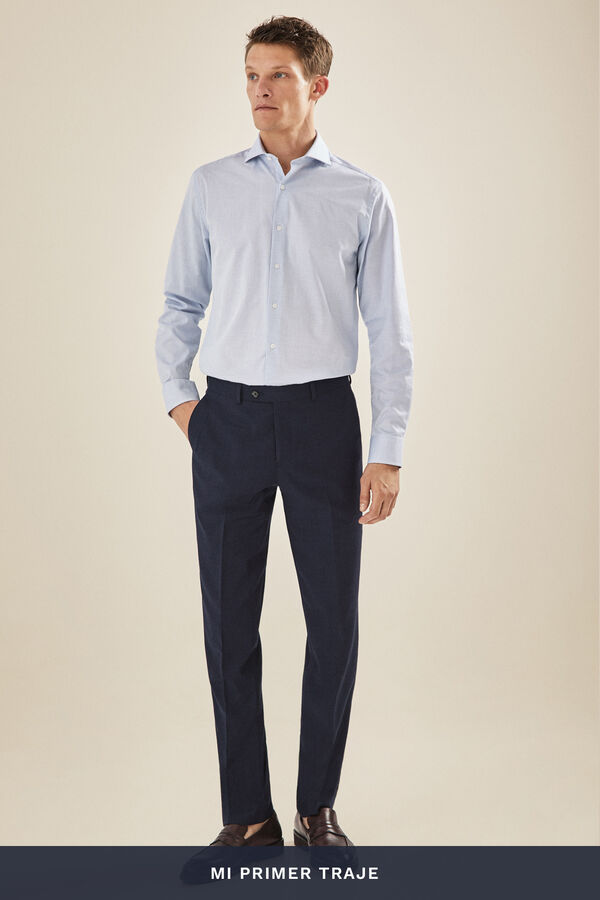 08ccf0d68 Cortefiel Pantalón traje liso slim fit Azul
