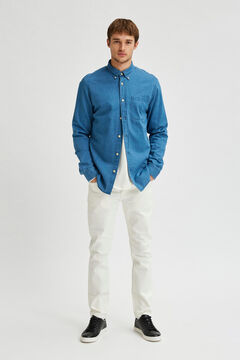 Cortefiel Organic denim shirt Royal blue