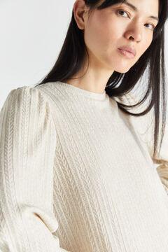 Cortefiel Cross-knit top Ecru
