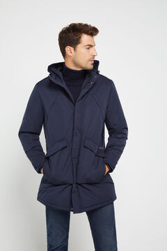 Cortefiel Long technical parka pockets Navy