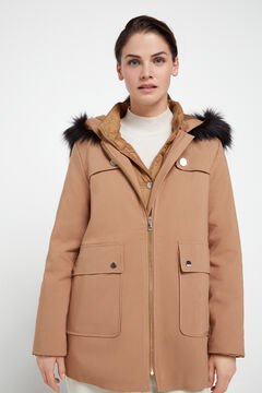Cortefiel Duffel coat with removable interior anorak Camel