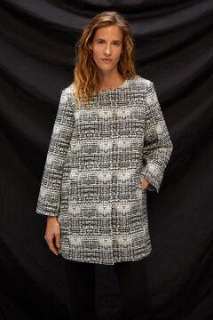 Cortefiel Jacquard A-line coat Ecru