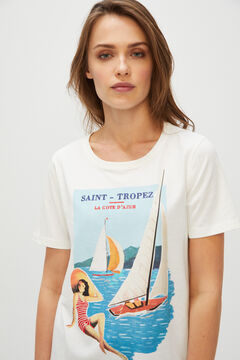 Cortefiel Postcard print t-shirt White