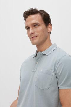 Cortefiel Short-sleeved logo polo shirt Light blue