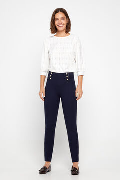 Cortefiel Push-up leggings with buttons Navy