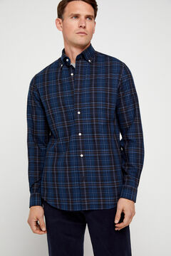 Cortefiel Checked twill shirt Navy