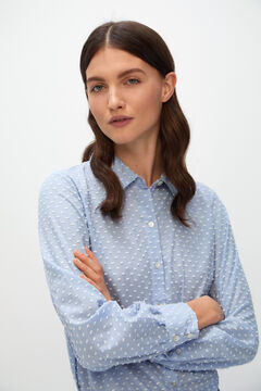 Cortefiel Long-sleeved plumetis shirt Blue