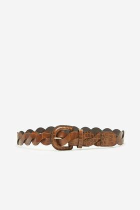 Cortefiel Crocodile woven belt Camel