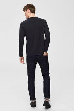 Cortefiel Organic cotton t-shirt buttons Black